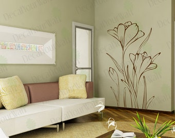 Wall Decals Living Room Bedroom Floral Flower Lilac Decal Wall Art Stickers Home Decor Removable Vinyl Sticker Bedroom Living Room size 4