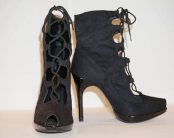 Anne Michelle 'Godess' Black Peep-Toe Lace-up Stiletto Boots Sz 7