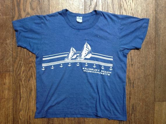 "Vintage 1980s 80s blue 50/50 Salisbury Beach Massachusetts sailing boat t shirt tshirt mens womens unisex 40"" chest"