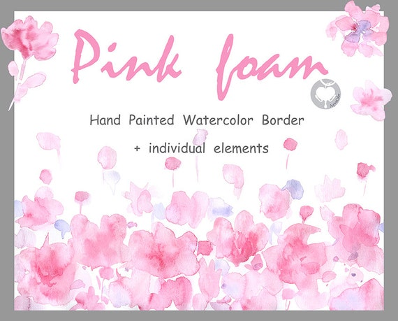 Watercolor flower border clipart pink foam hand painted mightylinksfo Images