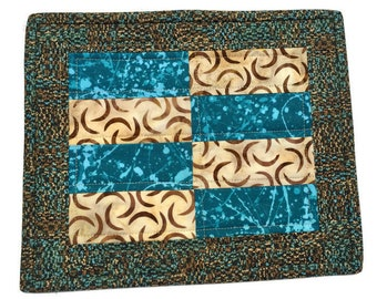 Quilted Fabric Mug Rug Turquoise and Brown, Patchwork Mug Rug, Large Quilted Coaster, Handmade Gift, Turquiose Mug Rug, Quiltsy Handmade