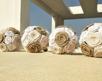 1 PC Handmade Bridesmaid Burlap Bouquet,Bridesmaid Bouquet,Burlap Bouquet,Rustic Wedding Bouquet,Rustic Bouquet,Burlap Rose Bouquet.