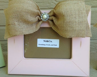 Hand Painted Shabby pink 4x6 frame with burlap jeweled bow