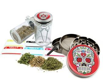 "Sugar Skull - 2.5"" Zinc Alloy Grinder & 75ml Locking Top Glass Jar Combo Gift Set Item # G021615-030"