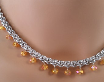 Jens PIND chainmail necklace with Gold/Orange Crystals, Chain mail necklace, chain maille necklace, chainmail necklace