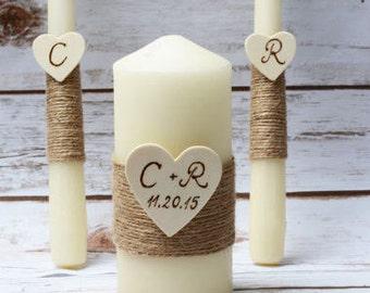 Wedding Unity Candle Set Rustic Ivory Unity Candle Burlap Church Ceremony Set