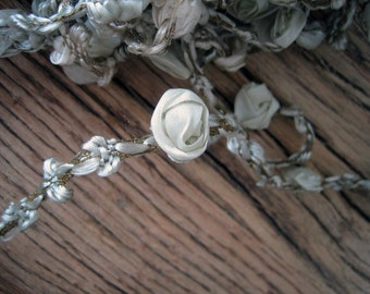 Rare Circa 1910s Antique Silk Ribbonwork and Floss Along a Metallic Mesh  (Ref A-3923 Box 4)