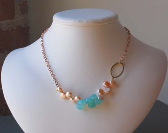 Peruvian Blue Chalcedony Briolette Drops Freshwater Coin Pearls Rose Gold Chain Necklace Set, The Aaliyah Matti Necklace Set
