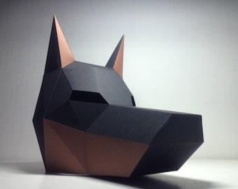 Doberman Mask | Paper Mask | Papercraft 3D DIY kit