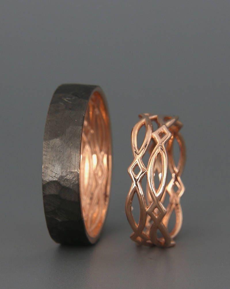 14 K Rose Gold Schwarz und hellen keltische Eheringe Set