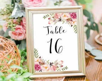 Wedding Table Numbers  16-20Printable, 5X7 Table Numbers Wedding, Instant Download, Table Numbers, Printable Table Numbers, Vintage, B120
