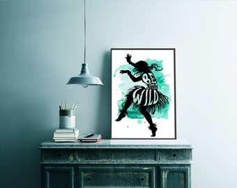 Typography Art Poster, Digital Download, Print, Poster, Wall Art, Girl Power, Be A Little Wild Dancing Girl