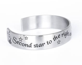 Stainless Steel Cuff Bracelet with Engraved Peter Pan Quote comes in three sizes