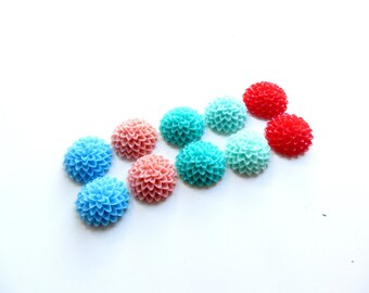 lot 10 15mm lot E dahlia flower cabochons