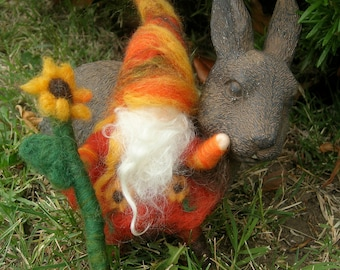 Wool Gnome - Sunflower Gnome with Sunflower Needle felted Elf - Waldorf Inspired