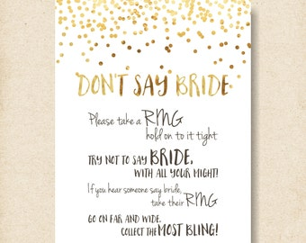 dont say bride, confetti shower activity, lingerie shower game, ring game sign, confetti wedding shower games, gold confetti printable- br18