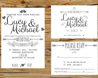 Wedding Invitation, Printable Invitation Template, Invitation Suite, Wedding Set, Editable Wedding Invite, Eucalyptus, Invitation Set, C6