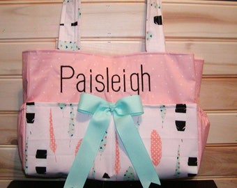 Diaper bag, handbag, book bag..Feathers N Coral Dots..With Name and Bow. Choose Color of arrows, size. Add font in message.