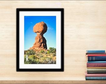 Desert Photography, Unique Landscape, Desert Photo Art, Rustic Cabin Decor, Red Rocks Art, Arches National Park, Utah, Balanced Rock