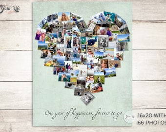 ONE YEAR Anniversary Gift, Anniversary Photo Collage,  Anniversary Gift for Husband, One Year Wedding Gift, First Mother's Day
