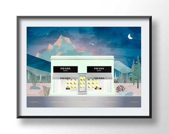 PRADA MARFA poster, prada marfa night scene, prada marfa printable, texas prada, boho print, fashion art, marfa texas, prada printable, 2200