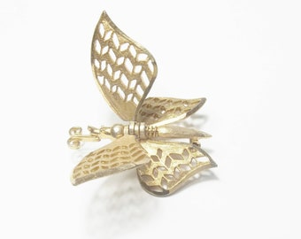 Gold Movable Articulated Pose able Wings Butterfly Costume Jewelry Mid Century 1960's Brooch Pin Gift For Her Best Deal on Etsy