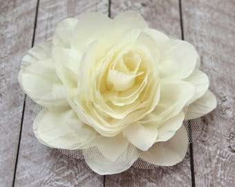 5.5 inch LARGE Crinkle Chiffon & Lace Flower in Ivory - Flower Head for Headbands and DIY Hair Accessories