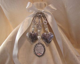 Double photo Heart Locket Bridal Bouquet Memory Charm - holds up to 4 photos
