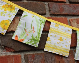 Happy Banner Fabric Yellow Green Floral 5 ft Vintage Cloth Party Nursery Decor