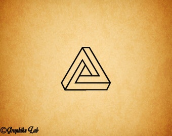 Impossible Triangle Vinyl Decal Penrose Triangle Vinyl Decal