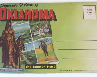 Vintage Souvenir Folder of OKLAHOMA, The Sooner State, Multi View Fold Out Picture postcard