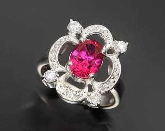Ruby ring, Antique ring, Victorian ring, Women silver ring, Art deco ring silver, Anniversary ring, Silver ring for her, Pink stone ring