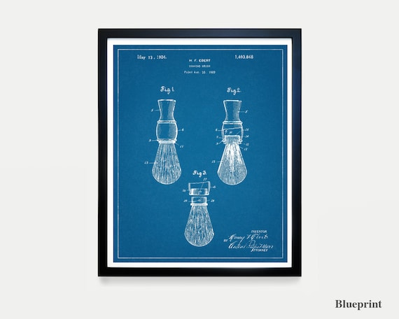 Vintage Mens Shaving Brush Patent - Bathroom Art - Bathroom Print - Shaving - Bathroom Decor - Bathroom Patent Art - Man Poster - Men Poster