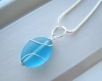 Blue Necklace - Cultured Sea Glass Jewelry - Necklace and Earring Bridesmaid Set - Wire Wrapped Necklace - Recycled Glass - Blue Bridesmaid