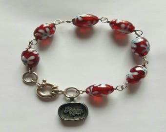 Red Floral Lampwork Beaded Bracelet with Sterling Silver