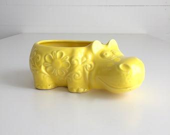 Vintage Hippo Planter Hippopotamus Ceramic Yellow Succulent Pot Flowers Design Treasure Craft USA Pottery Hippo Collector
