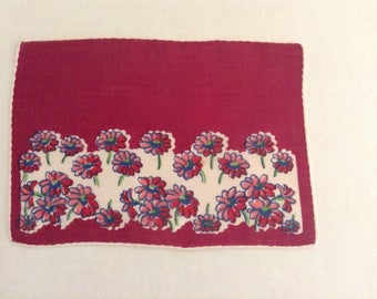 Vintage Handkerchief / Tiny Red Flowers