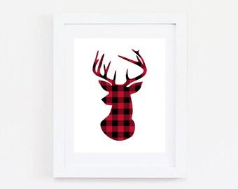 Buffalo Plaid Christmas Printable Art Prints 8x10 Buffalo Plaid Deer, Snowflake, Lumberjack, Red and Black Christmas Decor Holiday
