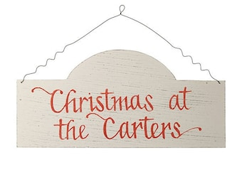 Personalised Arched Country Christmas Wood Plaque
