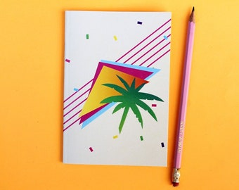 80s Style Notebook, Lined Pages, A6