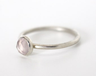 Rose quartz rose cut cabochon and sterling silver stackable ring