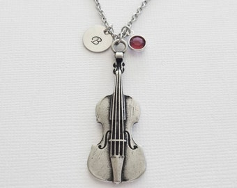 Violin Necklace Silver Initial Viola Musician Orchestra Symphony Gift Jewelry Swarovski Birthstone Personalized Monogram Hand Stamped