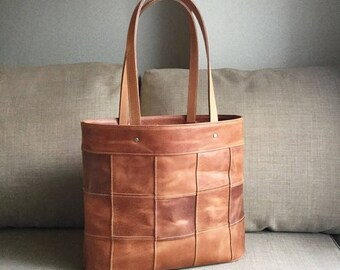Patchwork tote with oil leather
