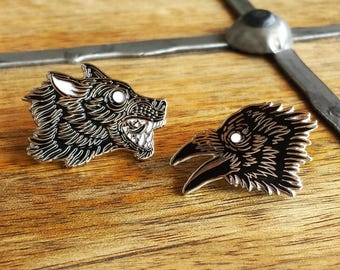 Order of the Moon, Wolf and Raven Enamel Lapel Pin Set | High Polish, Enamel & Silver Plated