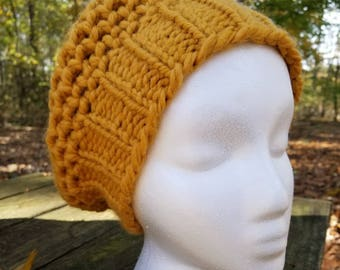 Chunky Hand Knit Slouchy Beret in Mustard Yellow, Yellow Beret