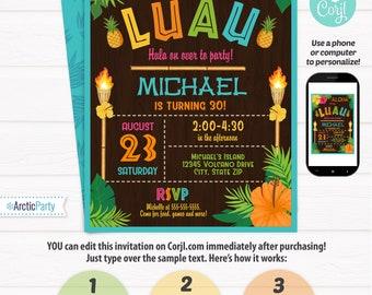 Luau Party Invitations - Luau Birthday Invitations - Adult Luau Invitation - Luau Invitation - Hawaiian Invitation - Edit NOW using Corjl