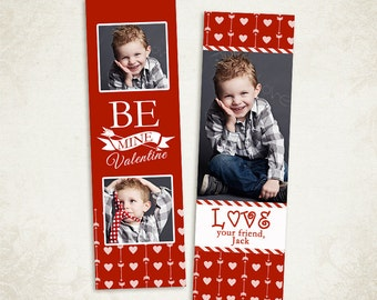 Valentines Bookmark Photoshop Template for Photographers  002- ID175, Instant Download