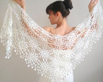 White shawl,  wedding wrap,  crochet lace shawl, evening shawl,  white wrap,  bridal cover up,  wool shawl,  winter wedding, fast shipping