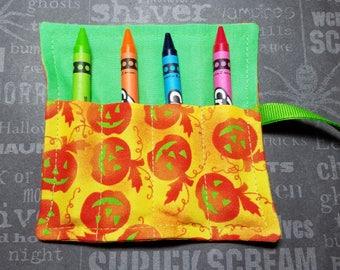 Halloween Mini Crayon Keeper Roll Up Holder  4-Count Party Favor - Pumpkins....Yeah!