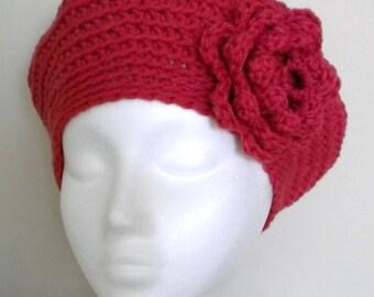 Crochet BERET PATTERN with flower - Spider Web